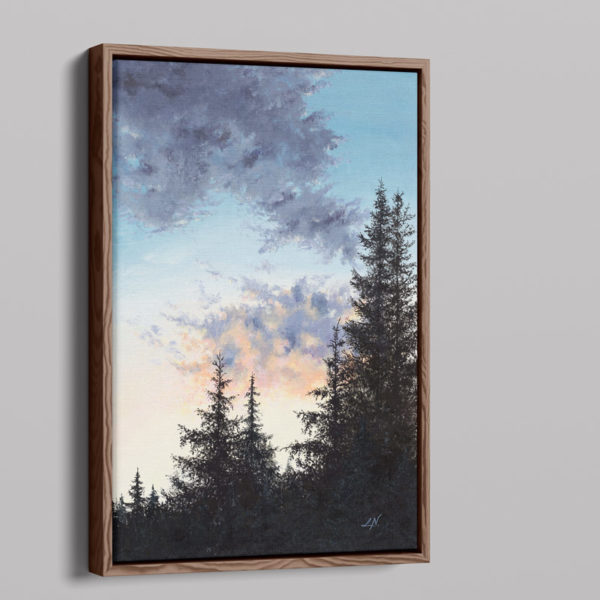 framed painting of a forest