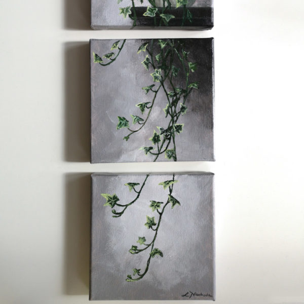 three piece painting of an ivy hanging on a wall