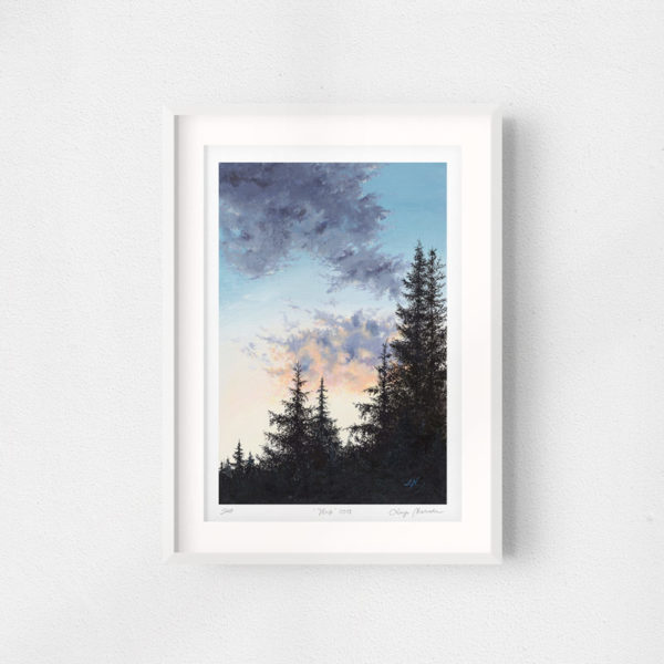 framed sunset painting