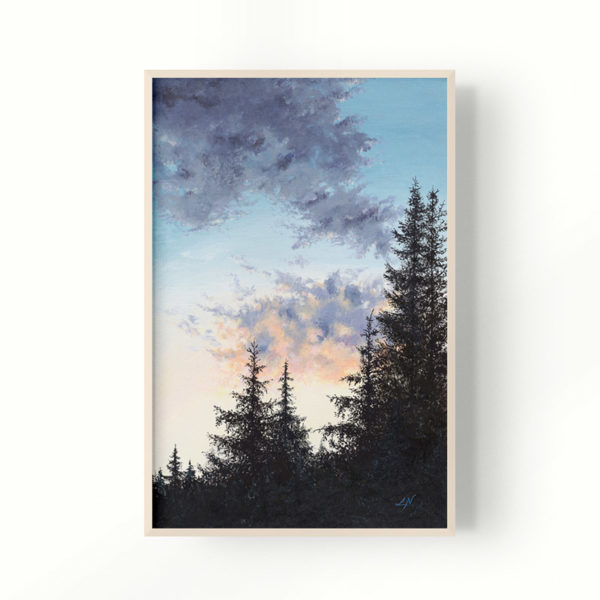 framed sunset painting