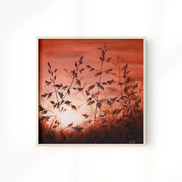 framed grass sunset painting art print