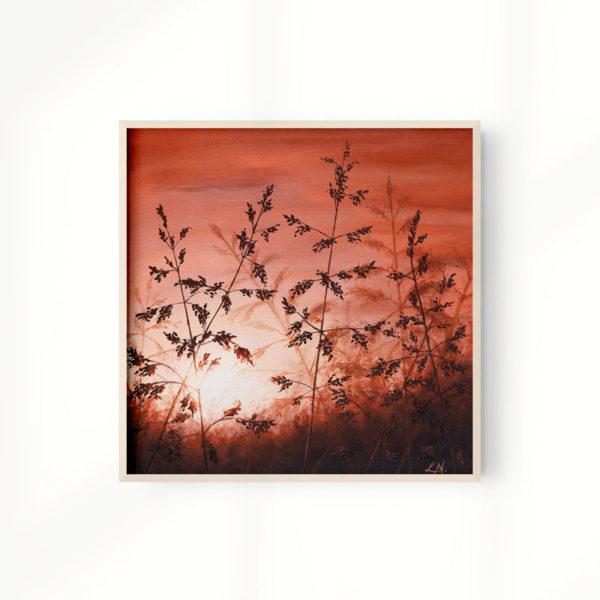 framed grass sunset painting art print