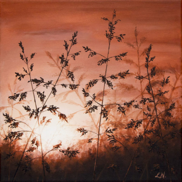 painting of grass sunset