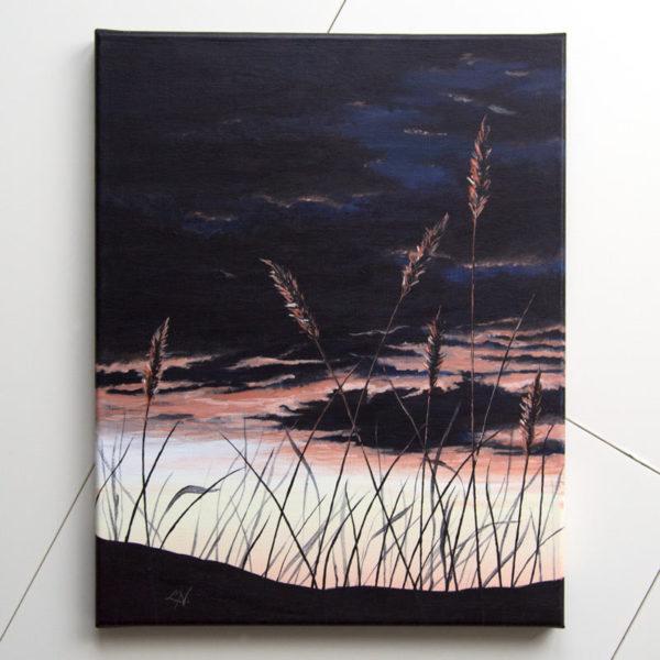 dark sunset painting