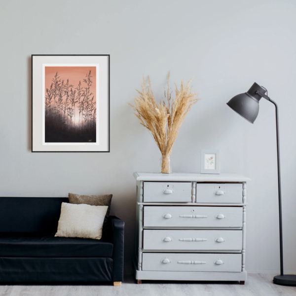 art print hanged on wall