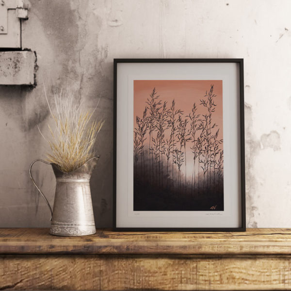 framed grass painting