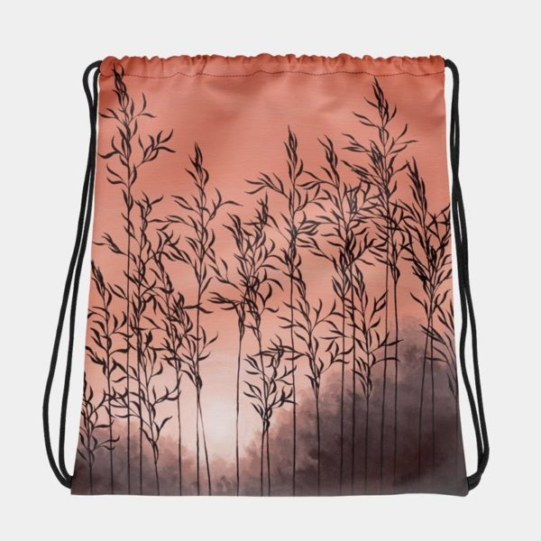 drawstring bag with grass sunrise