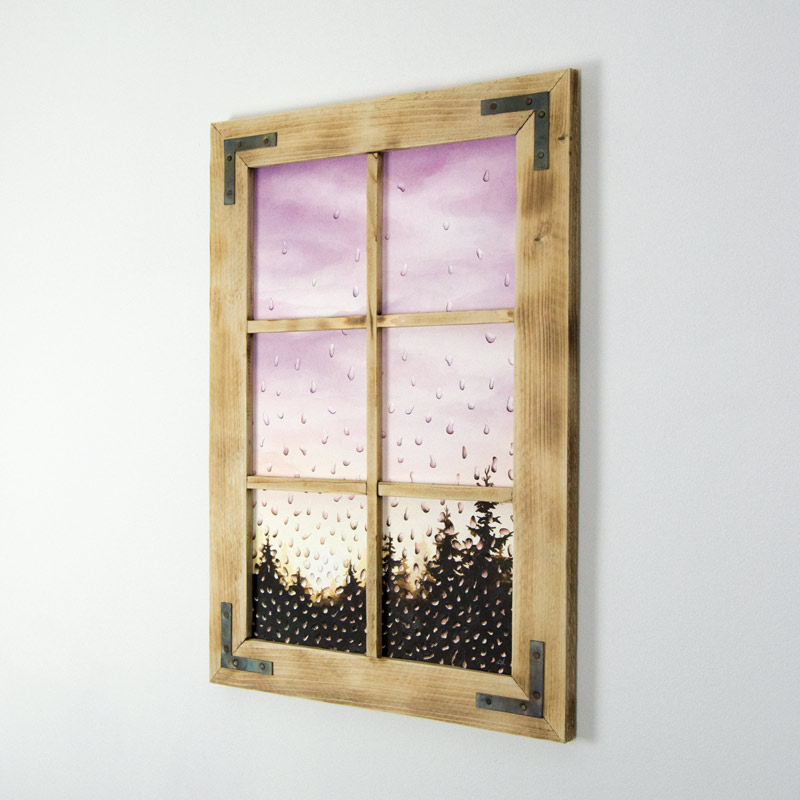 framed window painting
