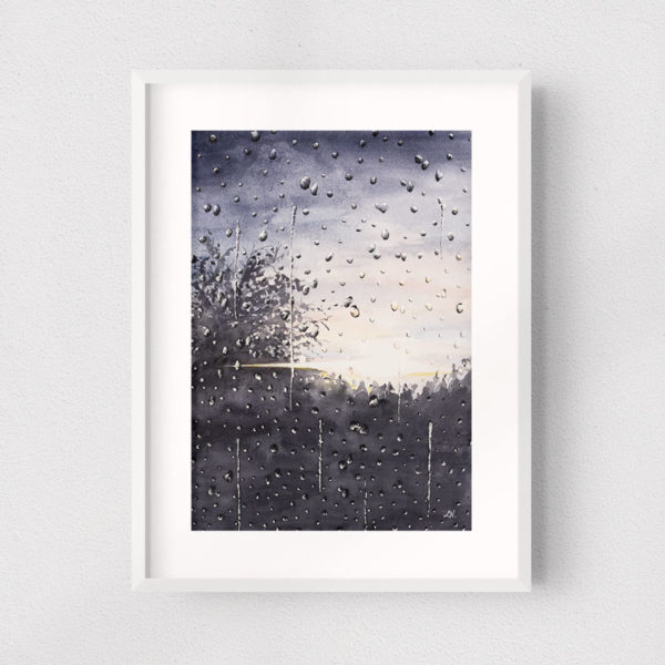 framed painting of a rainy window