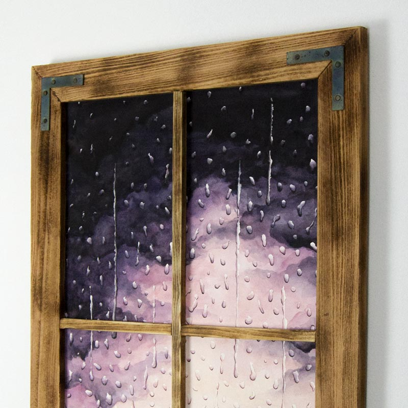 framed watercolor painting of rain