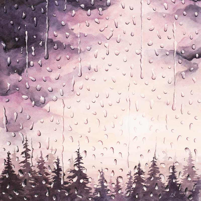 watercolor painting of rain