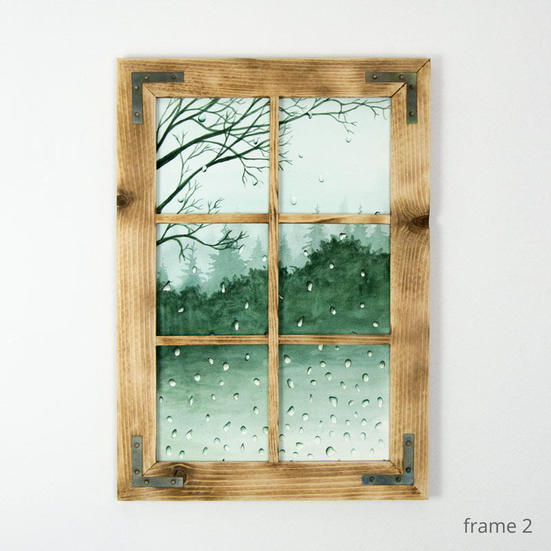green watercolor painting framed