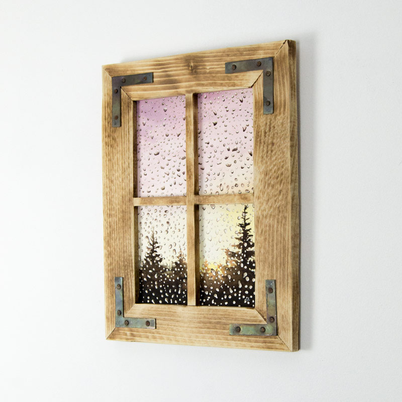 rainy day painting framed in a window-like frame