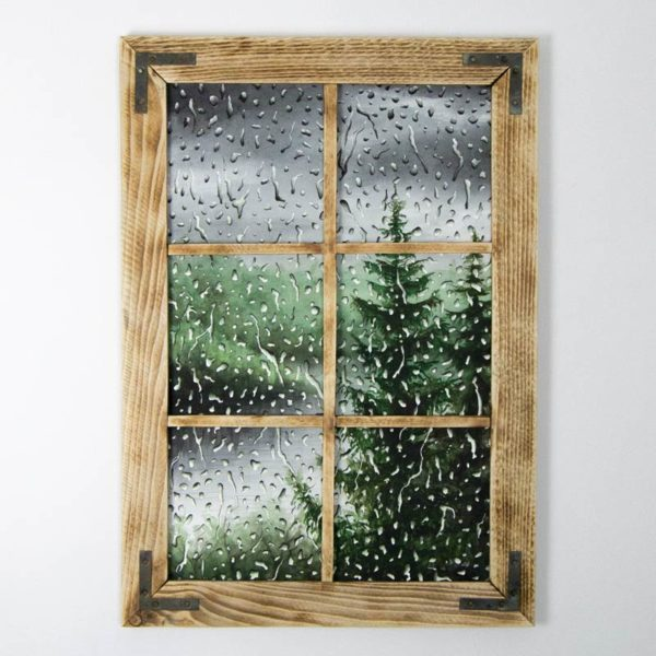 framed green rain painting