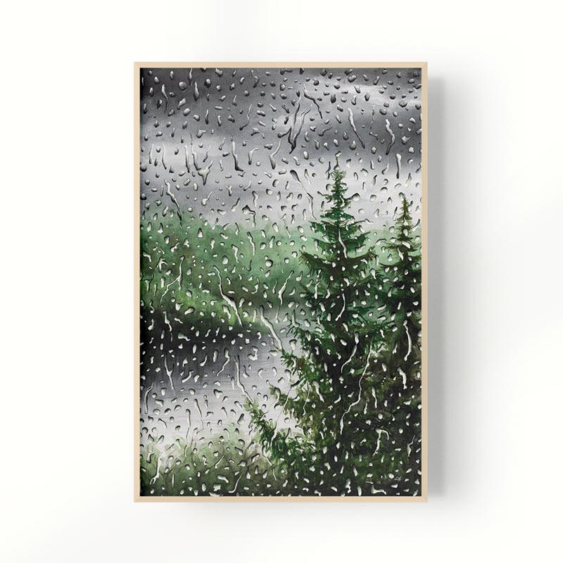 framed rain painting
