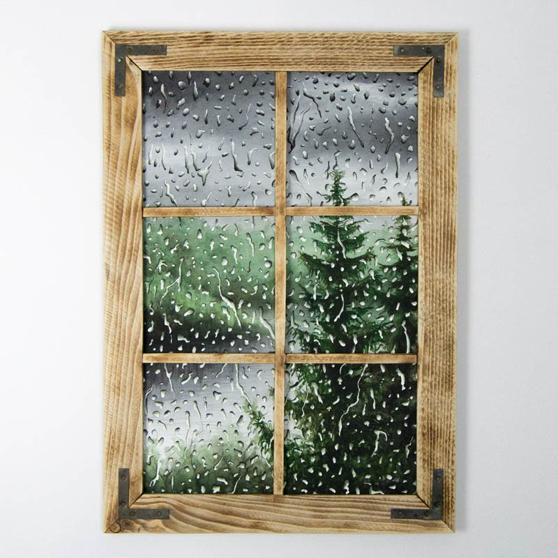 framed green rain painting