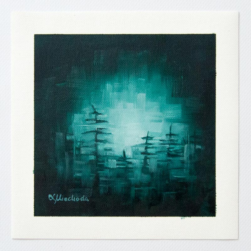 painting of a moonlit forest floor