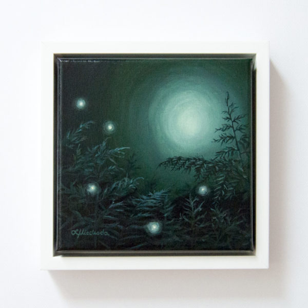 framed painting of a moonlit forest
