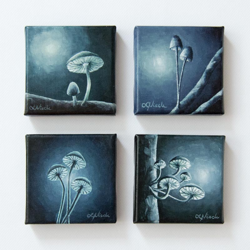 four fungi paintings