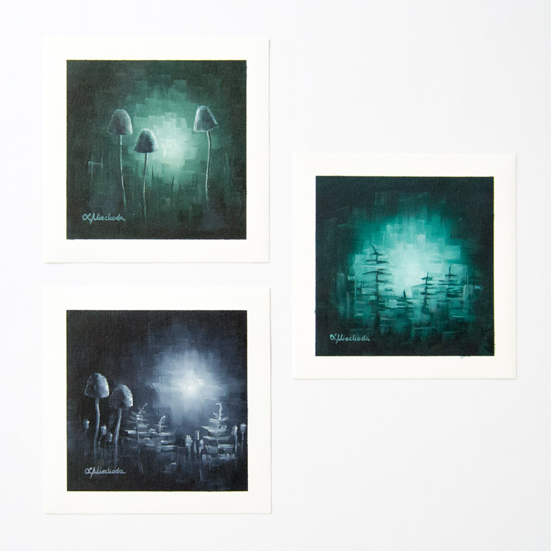 three paintings of moonlit fungi