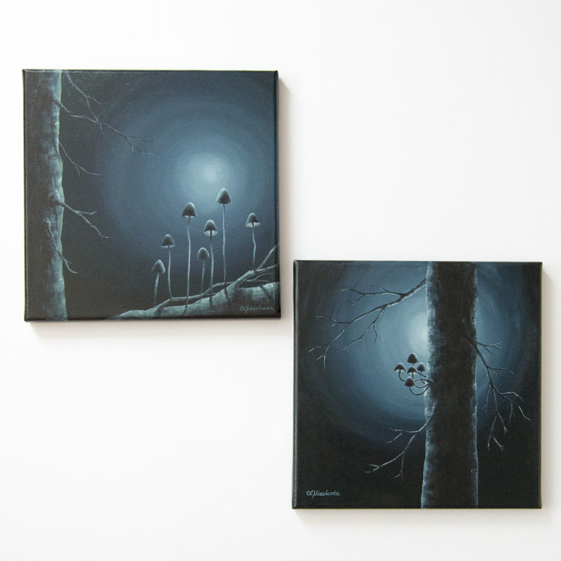 two paintings of the moon