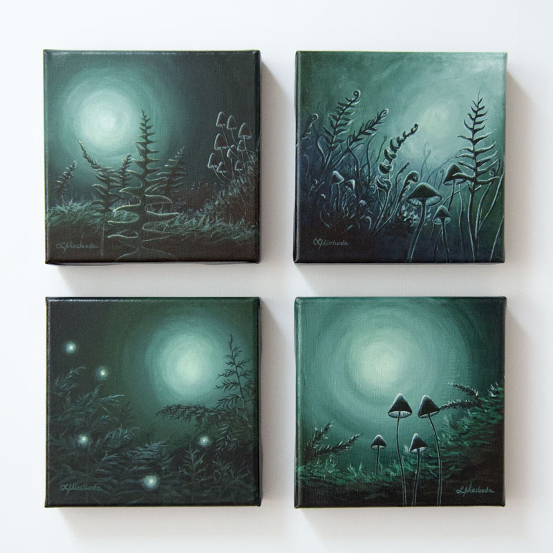 four green paintings of a moonlit forest