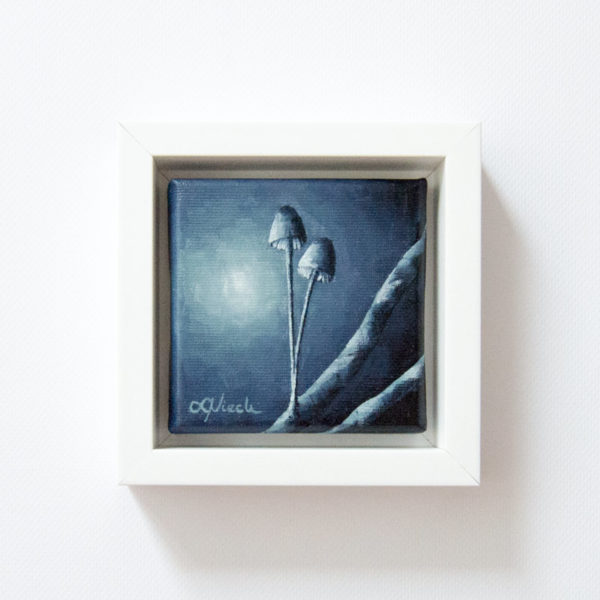 framed painting of moonlit fungi