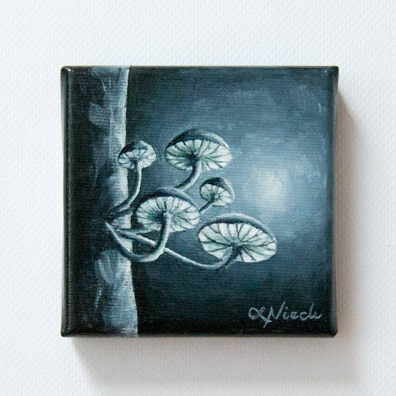 painting of moonlit fungi