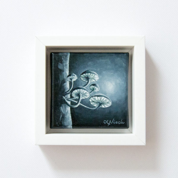 framed painting of moonlit fungi