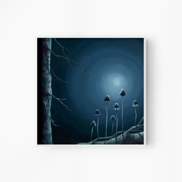 blue painting of a moonlit forest floor