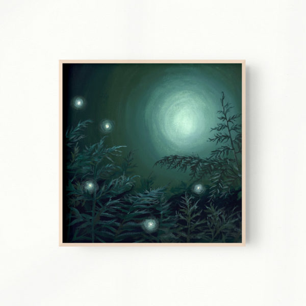 green painting of ferns in the moonlight