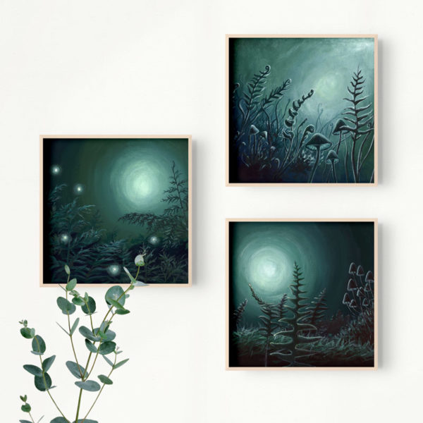 framed paintings of moonlit forest floor