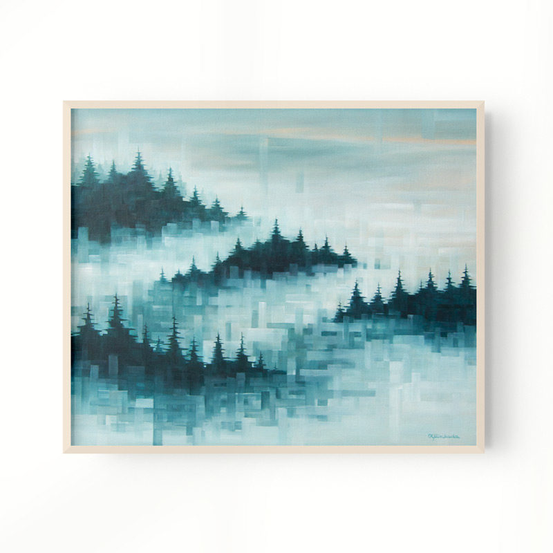 framed print of a foggy forest