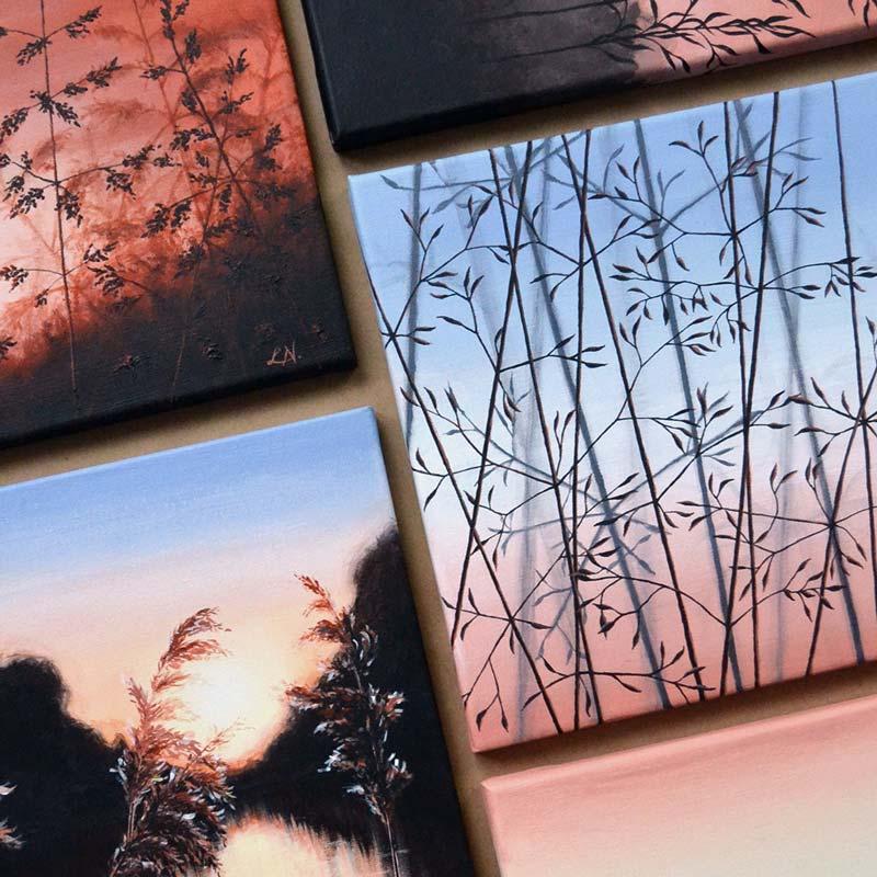 framed paintings of moonlit forest floor